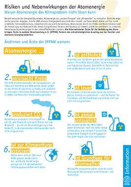 Informationsblatt: Risiken und Nebenwirkungen der Atomenergie