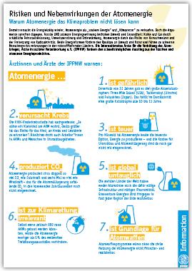 IPPNW-Information: Risiken und Nebenwirkungen der Atomenergie