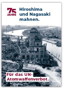Faltblatt zum 75. Jahrestag der Atombombenabwürfe auf Hiroshima und Nagasaki