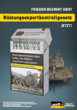 Plakat Rüstungskonversion kann helfen, das Waffenexportieren aufzugeben