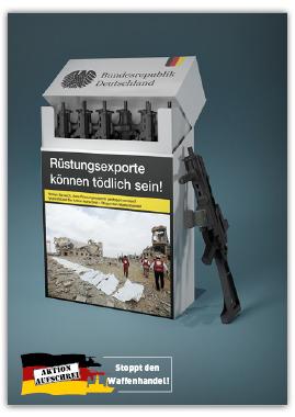 Aufkleber Frieden beginnt hier. Rüstungsexportkontrollgesetz jetzt!