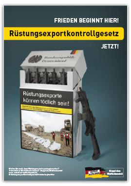 Plakat Frieden beginnt hier. Rüstungsexportkontrollgesetz jetzt!