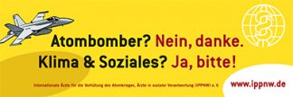 Banner Atombomber nein danke! Klima & Soziales? Ja, bitte!