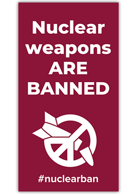 """Flagge """"Nuclear weapons are BANNED"""""""
